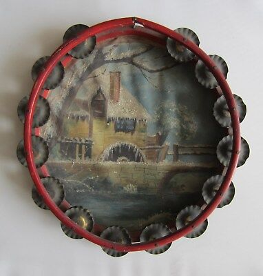 Americana folk Art tambourine with painting