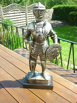 Suit of Armour  -  Medieval Knight Figure with Sword and Shield on Base