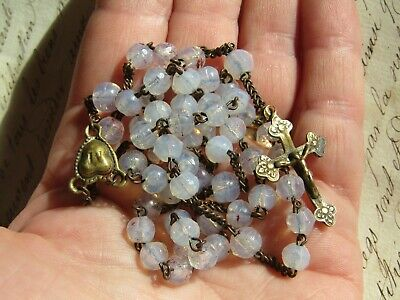 Gorgeous Antique 19Th Century Glass Iridescent  French Rosary Beads Crucifix
