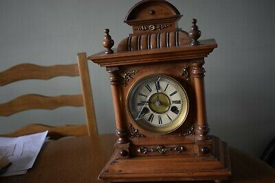 Vintage  Black Forest Striking  14 Day Golden Oak 14 Day Mantle Clock By H.a.c.