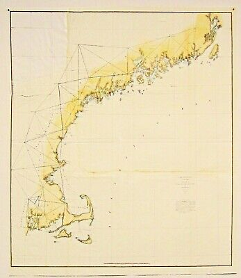 Original New England Coast Survey 1847 Hand Colored Rhode Island To Maine