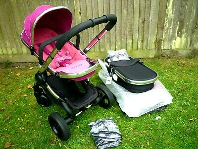 iCandy Peach 3 Pushchair Fuchsia & Brand New Black Carrycot+ Car Seat & Adapter