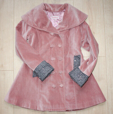 INFANCY designer DUSTY PINK VELVET & TWEED coat CLASSIC RETRO collar age 6-7