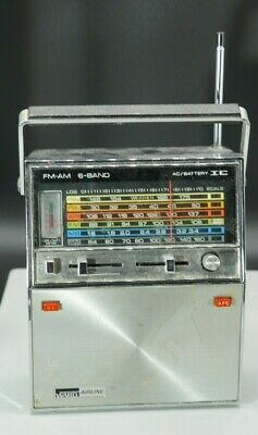 Working! Montgomery Ward Airline Radio 6 Bands Selection PB1,Pb2,Air,FM,MB,AM,