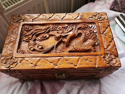 Oriental Style Carved Wooden Box