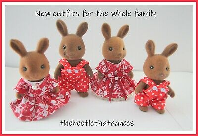Sylvanian Families Clothes, New Outfit set D For a Whole Family, Rabbit,Cat  ETC