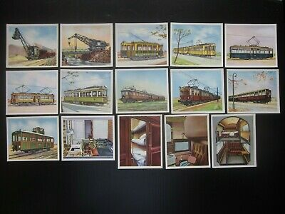 15 German cig. cards of Modern Railway Cars, Engines, etc., issued 1934, 1/3