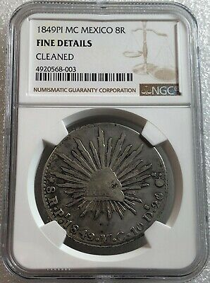 1849 PI MC Mexico Cap & Rays 8 Reales NGC Fine Details Scarce Free Shipping