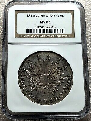 1844 Go PM Mexico Cap & Rays 8 Reales NGC MS 63 Nice Toning Scarce Free Shipping