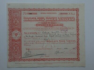 "stock certificate - 1911 Barclays Bank Ltd - ""A"" stock #301"