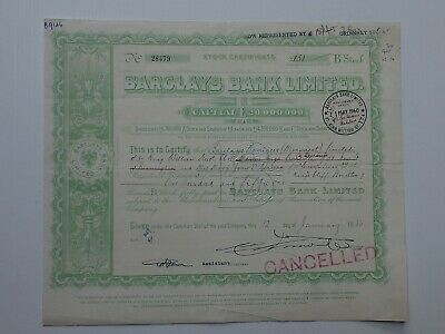 "stock certificate - 1950 Barclays Bank Ltd - ""B"" stock #28479"