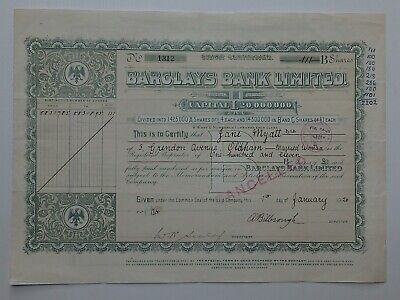 "share certificate - 1920 Barclays Bank Ltd - ""B"" shares  #1312"