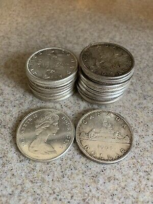 Lot of (5) Pre-1967 Canadian Silver Dollars  80% - 3 Oz ASW