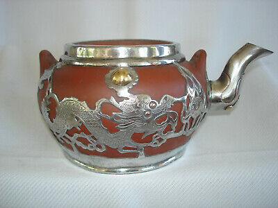 Antique Chinese Yixing Teapot with Silver Dragons