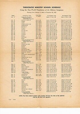 Watch Tower - Ministry School schedule for 1955