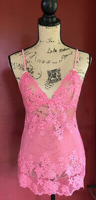 Victoria's Secret Slip Teddy Babydoll Salmon sheer Lace tunic Nightie chemise M