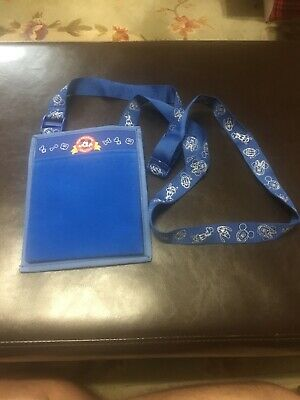 Walt Disney World Parks Official Pin Trading Lanyard & Pouch Blue!!!!!