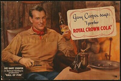 Gary Cooper Rare 1941 Large Royal Crown Cola Sign Ball Of Fire Howard Hawks