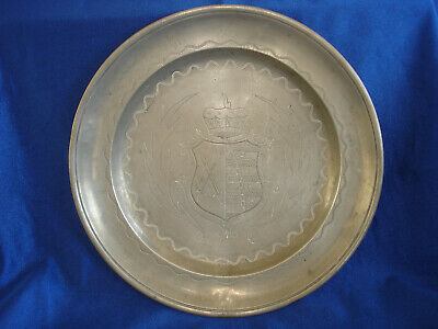 Antique Pewter Plate with Engraved Coat Of Arms and Signed on Bottom
