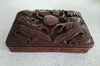 Antique Chinese Floating Dragon Wood Carved Relief Jewellery Trinket Storage Box