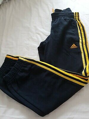 Age 9-10 Years ADIDAS Black+ Yellow Joggers Boys/Girls Tracksuit Jogging Bottoms