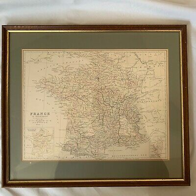 Map of France J Bartholomew - Framed Print
