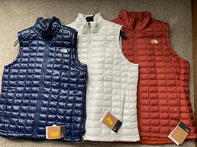 The North Face $149 Women's Thermoball Lightweight Vest Navy White Orange New