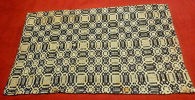 Antique Woven Indigo and White Piece from Handmade Coverlet