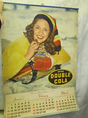 Vintage 1951 Drink Double Cola 4 Page 12 Month Wall Calendar 20 X 14 Pinup Girls