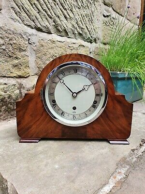 A Superb 1/4 Westminster Chiming Mantle Clock By Elliott In Walnut - Circa 1940