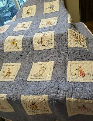 """Sweet! Vintage APPLIQUE People of all Nations Pictorial QUILT 52"""" X 64"""""""