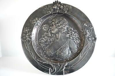 WMF Pewter Figural Wall Plaque / Charger - Beautiful Young Maiden c.1900