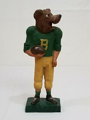 "Vintage BAYLOR BEARS Football HAND CARVED Family Portrait 12 "" MASCOT Figurine"