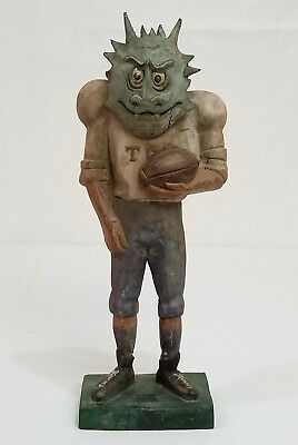 Vintage TCU HORNED FROGS Football HAND CARVED Family Portrait MASCOT Figurine