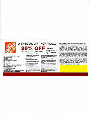 (4) 20% OFF HOME DEPOT Competitors Coupon to use at Lowe's exp 07/31/20