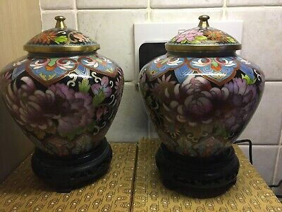 Vintage Chinese Pair Cloisonne Ginger Jars  Stands Mint Boxed