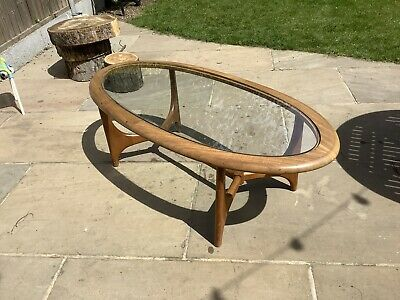 Oval Mid Century glass coffee table