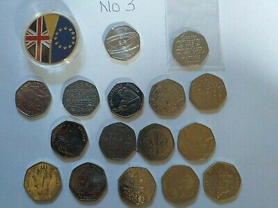 Brexit coins(2) BUNC +15 X 50p Job lot circulated coins--include Issac Nnewton +