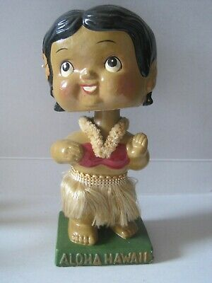"Vintage Rare Hawaiian Aloha Hawaii Hula Girl Flower Lei 6"" Bobblehead Japan"