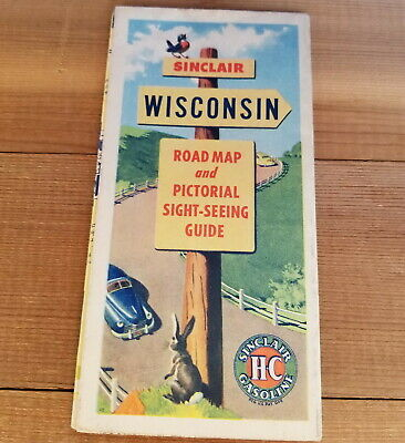 Vintage 1940'S Sinclair Gas Wisconsin Road Map & Sight-Seeing Guide