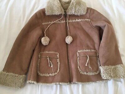 Zara Girls Warm Faux Fur Winter Camel Coat Jacket Age 6-7 Years Old