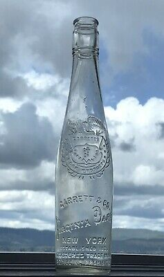 Antique Embossed Virginia Dare Clear Glass Wine Bottle - Garrett & Co NY