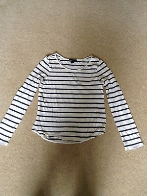 Girls Gap Kids Cream and Navy Blue Stripe Long Sleeve Top Age 8-9
