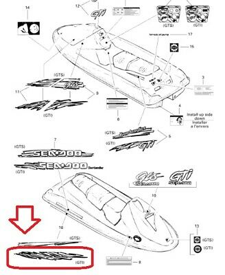 Sea-Doo Graphics 1996 GTI Left & Right Side Hull Decal
