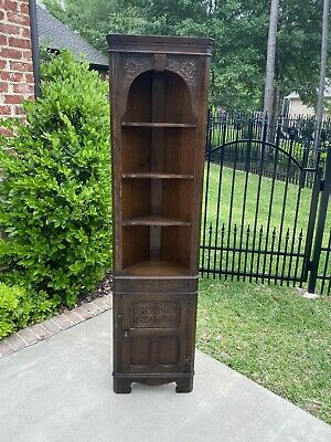 Antique English Oak CORNER Cabinet Display Cabinet Bookcase SIERRA 1 of 2