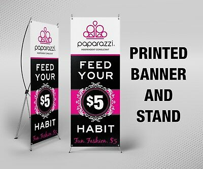 """Paparazzi Banner with X Stand - 24"""" x 63"""", Printed, Full Color"""
