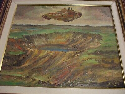 Original Signed Surrealist Oil On Board Painting