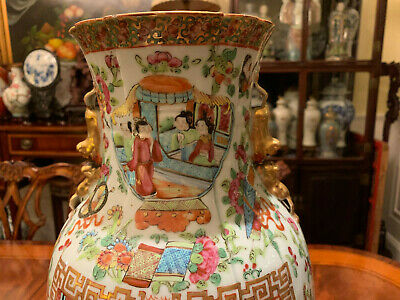 An Excellent Chinese 19th C Rose Medallion Porcelain Vase with Carved Stand.