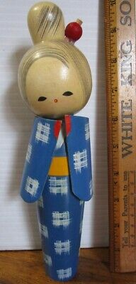 "1960s Vintage Japanese Kokeshi Wood Doll Stamped on bottom 9"" Blue Geisha Girl"