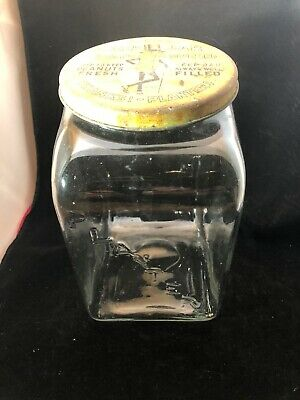Mr. Peanut Advertising Counter Glass Jar With Metal Lid